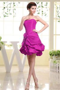 Strapless A-line Nice Quinceanera Dama Dress with Flowers in Fuchsia