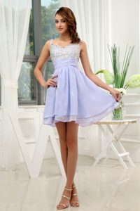 Straps Mini-length A-line Perfect Lilac Dama Dresses with Beading