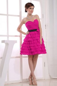 Sweetheart A-line Beautiful Ruffled Quinces Dama Dresses in Fuchsia