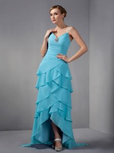 Low Price Light Blue Column Straps Quince Dama Dress with Ruching