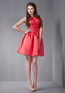 Rust Red Mini-length Affordable Quinceanera Dama Dress with Scoop