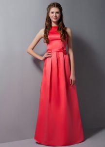 Cheap High neck Floor-length Dresses for Quinceanera in Rust Red