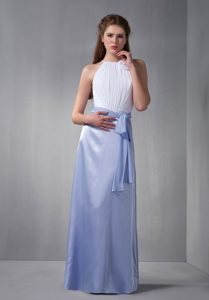 White and Lilac Scoop Discount Chiffon Dresses for Quince with Belt