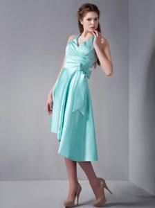 Lovely Aqua Blue A-line Halter Asymmetrical Quinceanera Dama Dress