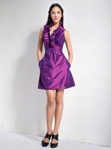 Purple A-line Halter Discount Quinceanera Dama Dresses in Taffeta