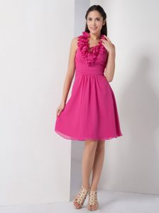 Ruched Chiffon Quinceanera Dama Dresses with Halter Top in Hot Pink
