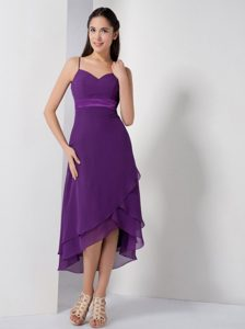 2013 Fabulous High-low Spaghetti 15 Dresses for Damas in Eggplant Purple