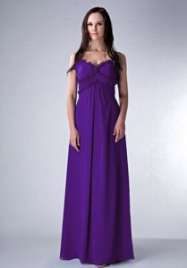 Purple Zipper-up Long Chiffon Wonderful Dama Dresses for Quinceaneras