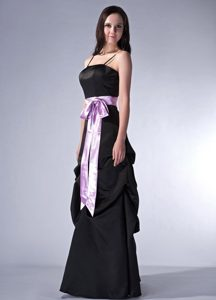 Spaghetti Black Satin Zipper-up 2013 Discount Damas Dresses for Quince