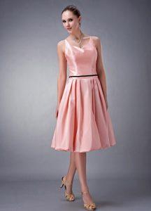 Magnificent V-neck Knee-length Taffeta Spring Dama Dress in Watermelon