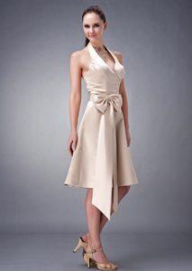 Champagne A-line Halter Tea-length Satin Romantic 16 Dresses for Damas