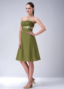 Classical Olive Green Chiffon Knee-length Dresses for Damas under 150