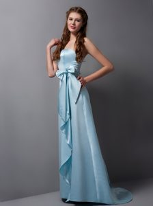 Memorable Strapless Satin Long Quinceanera Dama Dresses in Baby Blue