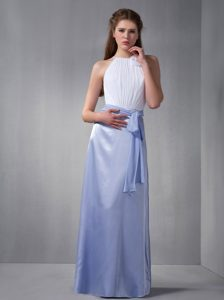 Exquisite Lilac and White Bateau Long Taffeta Dama Dresses with Sash