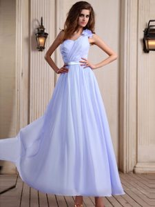 Popular Lilac One Shoulder Zipper-up Chiffon Dress for Damas with Flower