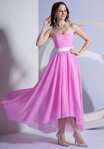 Pink Chiffon High-low Attractive Quinceanera Dama Dresses under 150