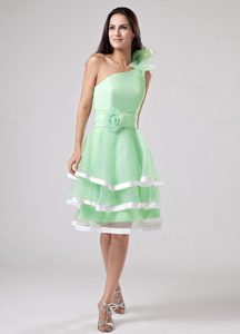 New Apple Green One Shoulder Zipper-up Ruffled Dama Dress with Sash