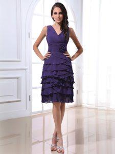 Purple V-neck Short Romantic Dama Dresses for Quinceanera with Flower