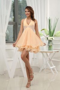 Halter Top Yellow Chiffon Fashionable 16 Dresses for Damas with Appliques