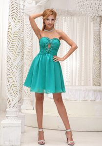 Ruched and Beaded Turquoise Chiffon Best Dama Dress for Quinceaneras