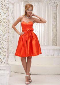 Classical Orange Taffeta Short Dama Quinceanera Dresses with Bowknot