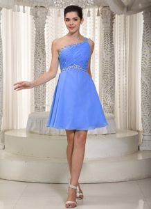 Blue One Shoulder Mini-length Chiffon Fabulous Dama Dress with Ruches