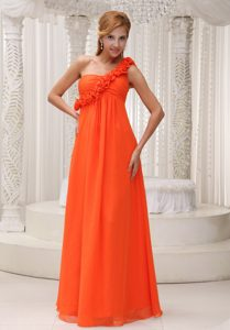Wonderful One Shoulder Orange Flowers Dama Dresses for Quinceanera