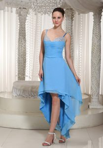 Discount High-low Chiffon Teal 15 Dresses for Damas with Spaghetti Straps