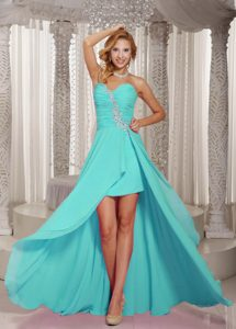 High-low Ruched and Beaded Aqua Blue New Dama Dress for Quinceaneras
