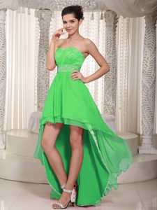 Spring Green High-low Elegant Spring Damas Dresses for Quince for 2014