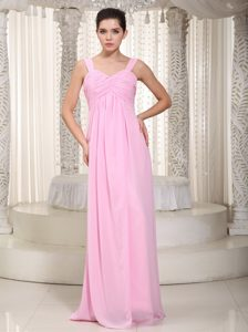 Charming Baby Pink Chiffon Ruched Quince Dama Dresses for Summer
