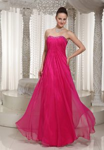 Romantic Strapless Hot Pink Ruched Dama Dress with Beading under 150