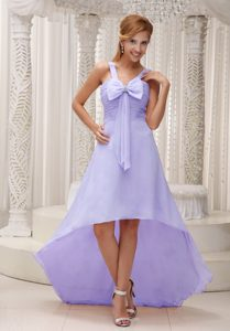 Gorgeous High-low Ruched Zipper-up Dama Quinceanera Dresses in Lilac