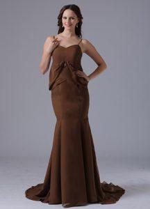 Memorable Spaghetti Mermaid Brown Dresses for Damas with Brush Train