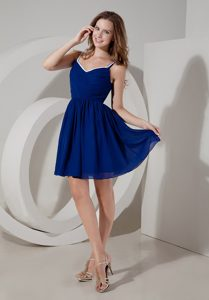 Blue A-line Spaghetti Short Fabulous Quince Dama Dresses with Ruches