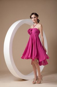 Discount Strapless Fuchsia Flowers Dama Dress for Quinceanera for Fall