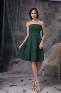 Dark Green A-line Ruched Chiffon Sweet 16 Dresses for Damas under 150