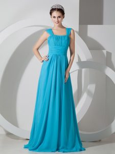 Teal Square Brush Train Ruched Elegant Dama Dresses for Quinceaneras