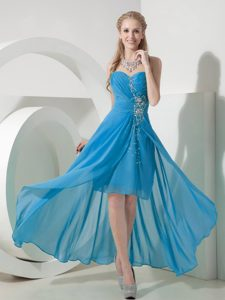 Light Blue High-low Sweetheart Impressive Dama Quinceanera Dresses