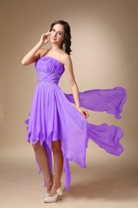 A-line Asymmetrical Charming Quinceanera Dama Dresses in Lavender