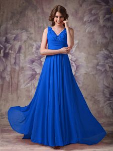 Blue V-neck Ruched and Beaded Chiffon Beautiful 16 Dresses for Damas