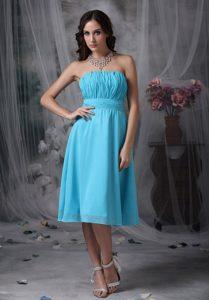 Aqua Blue Knee-length Chiffon Memorable Dama Quinceanera Dresses