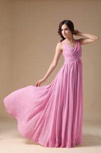 Pink V-neck Chiffon Ruched Popular Spring Dresses for Damas under 150
