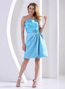 Aqua Blue Ruched Short Fabulous Quinceanera Dama Dresses with Flower