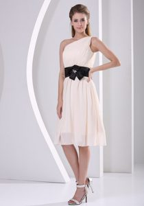 One Shoulder Champagne Chiffon Wonderful Quince Dama Dress for Fall