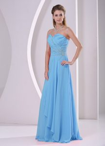 Sweet Beaded and Ruched Chiffon Aqua Blue Dama Dress for Quinceanera