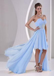High-low Sweetheart Beaded Elegant 16 Dresses for Damas in Light Blue