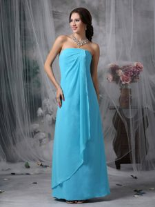 Fashionable Chiffon Long Quince Dama Dress in Baby Blue for Spring