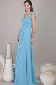 Baby Blue Floor-length Chiffon Ruched Popular Dama Quinceanera Dress