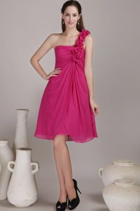 Exquisite Fuchsia One Shoulder Chiffon Dresses for Damas with Flowers